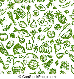 bosquejo, sano, seamless, patrón, alimento, diseño, su