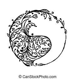 bosquejo, señal, yang de yin, diseño, su