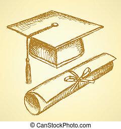 bosquejo, sombrero, diploma, graduación