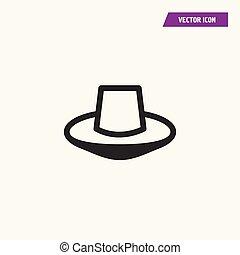 bosquejo, sombrero, fedora, icon.