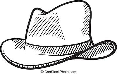 bosquejo, sombrero vaquero, fedora, o