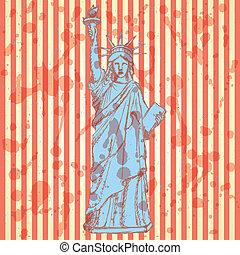 bosquejo, statue of liberty, vector, plano de fondo
