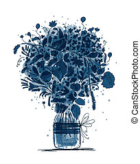 bosquejo, tarro, ramo, diseño, floral, su