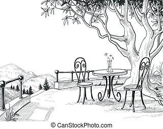 bosquejo, terraza, restaurante
