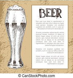 bosquejo, tinte, pilsner, vendimia, estilo, vidrio, cerveza