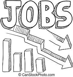 bosquejo, trabajos, disminuir
