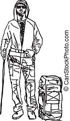 bosquejo, vector, backpacker., ilustración