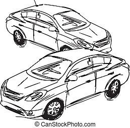 bosquejo, vector, cars., ilustración