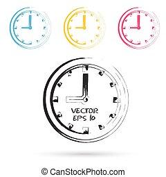 bosquejo, vector, estilo, icons., reloj