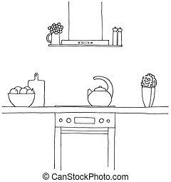 bosquejo, vector, estufa, capucha, caldera, items., kitchen., encimera, otro, ilustración