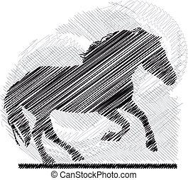 bosquejo, vector, horses., resumen