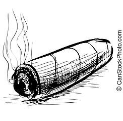 bosquejo, vector, iluminación, ilustración, cigarro