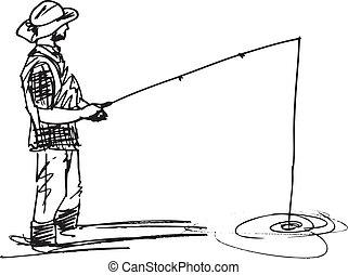 bosquejo, vector, pescador, ilustración, rod.