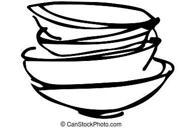 bosquejo, vector, pila, platos sucios