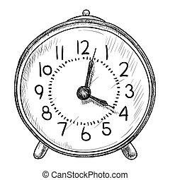 bosquejo, vector, reloj