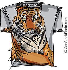 bosquejo, vector, tee, ilustración, tiger.
