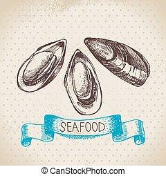 bosquejo, vendimia, mariscos, mano, fondo., mar, dibujado