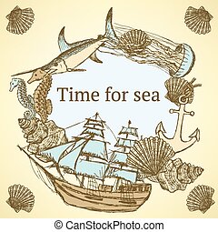 bosquejo, vida de mar, en, vendimia, estilo