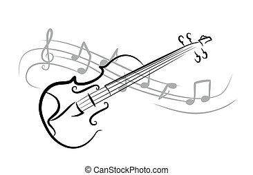 bosquejo, violin.