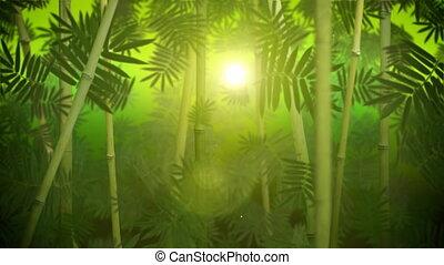 bosquet, bambou, vert, boucle