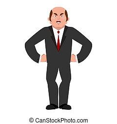boss., 隔離された, 悪, マネージャー, businessman., 攻撃的である, 怒る