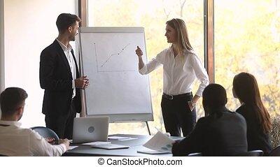 Boss and business training make presentation during seminar...