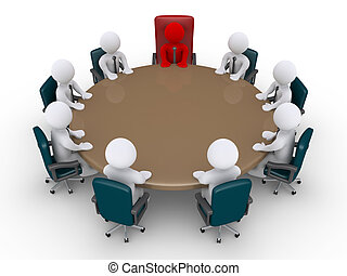 Boss and businessmen in a meeting