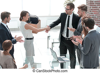 boss and the new employee shaking hands with each other. photo with copy space
