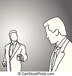 boss and worker talking vector illustration doodle sketch hand drawn with black lines isolated on gray background. Business concept.