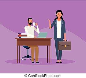 boss and worker teamwork