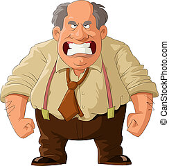Angry boss on a white background, vector illustration