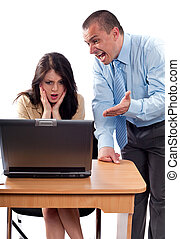 Boss arguing with an employee