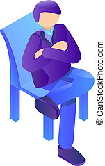 Boss at chair icon, isometric style - Boss at chair icon....