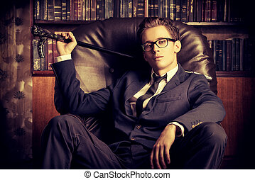 boss at his office - Respectable handsome man in his office....