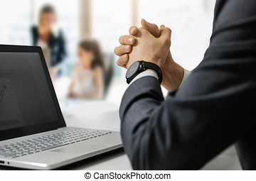 boss at work in office employee supervision and motivation