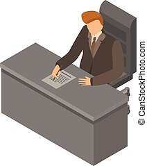 Boss at workplace icon, isometric style - Boss at workplace...