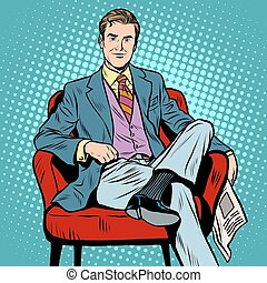 Boss businessman Director pop art retro style. Top Manager....