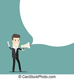 Boss, businessman or manager. A man in a suit shouting through loudspeaker. Business concept cartoon illustration vector
