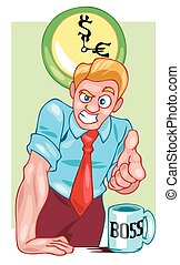 Boss businessman points a finger at you. Color vector illustration
