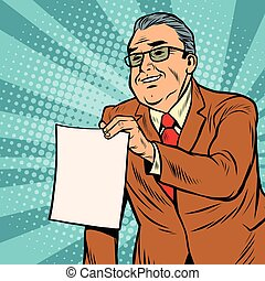 Boss businessman with a blank sheet of paper