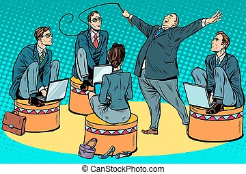 Boss businessmen trainer at the circus pop art retro style....