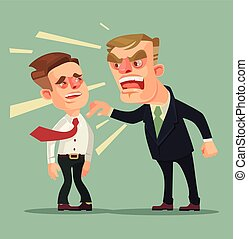 Boss character screams on worker. Vector flat cartoon illustration