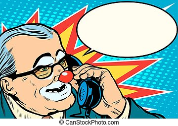 boss clown on the phone