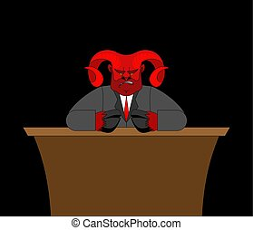 Boss devil in table. Demon businessman. Satan Chief. Angry...