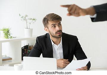 Boss firing shocked caucasian office employee stunned by dismiss