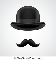 boss gentleman with moustaches and bowler hat - curly retro...