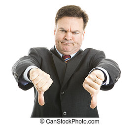 Boss Gives Two Thumbs Down - Businessman frowning and giving...