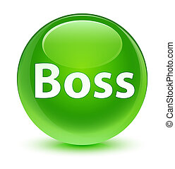 Boss glassy green round button