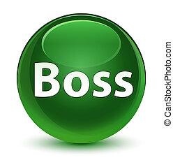 Boss glassy soft green round button