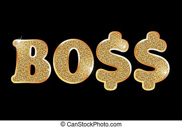 BOSS, gold letters